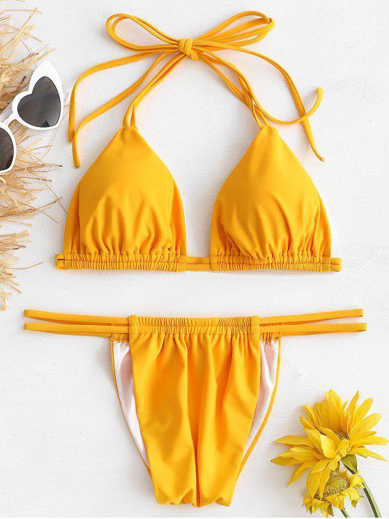 shops Straps Tied String Bikini Set - RUBBER DUCKY YELLOW M