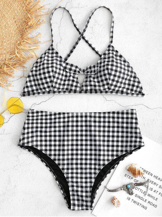 ladies Gingham Cross Strap High Cut Bikini - BLACK L