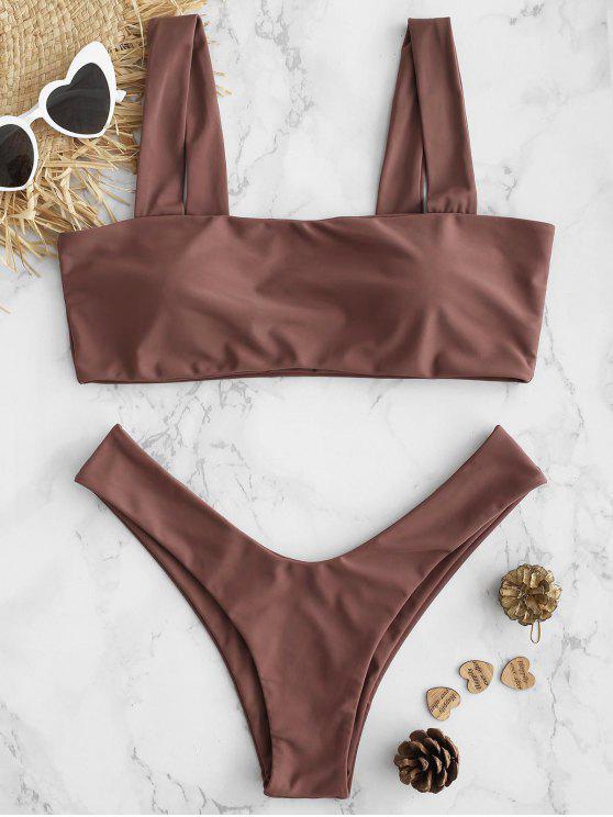 lady Padded High Cut Low Waist Bikini Set - PINK BOW M