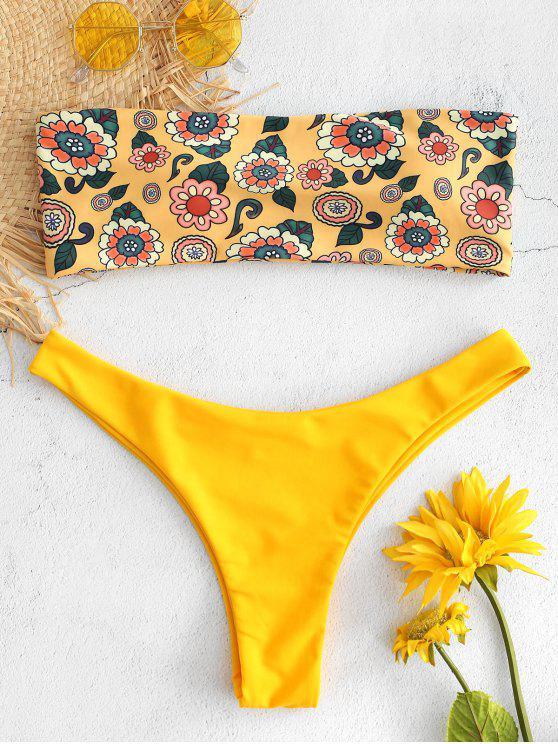 fancy Floral Printed Bandeau Bikini Set - BEE YELLOW S