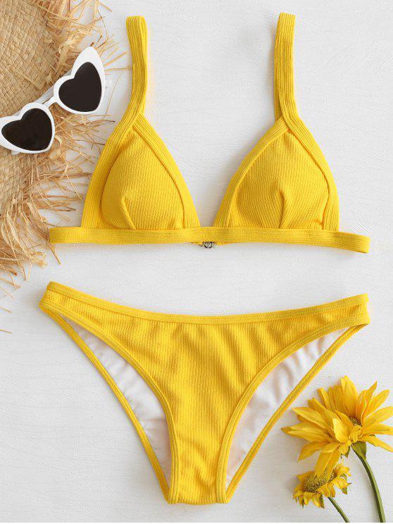 trendy Low Waist Ribbed Knit Bikini Set - BRIGHT YELLOW L