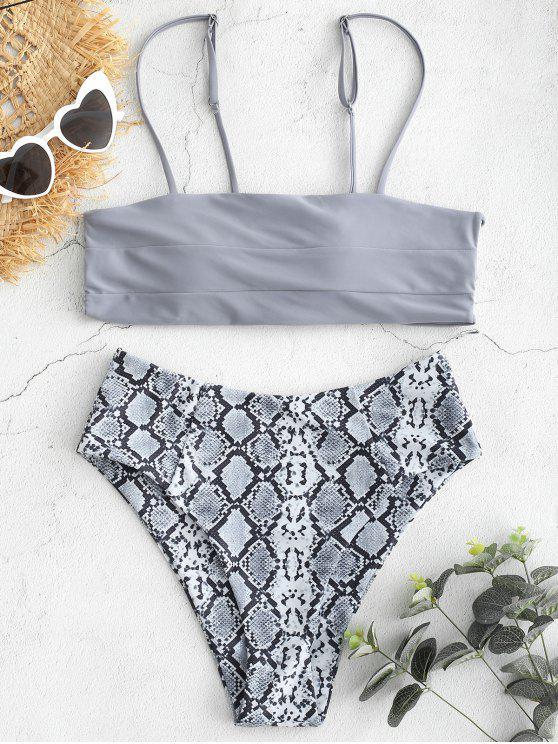 Hochgeschnittenes Schlangeshautmuster- Bikini-Badebekleidung - Grau M