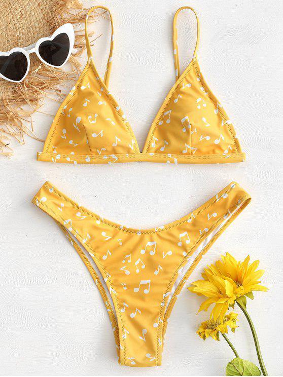 shops Music Notes High Cut Bikini Set - RUBBER DUCKY YELLOW L