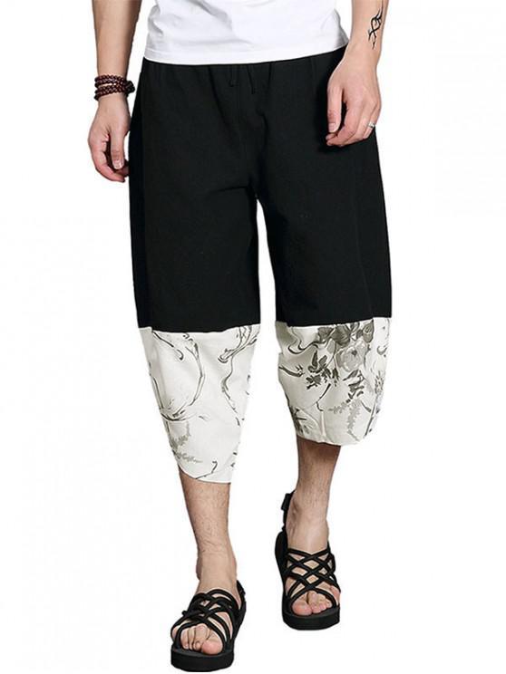 Patchwork Lässige Kurze Hose Mit Weitem Bein - Schwarz XL