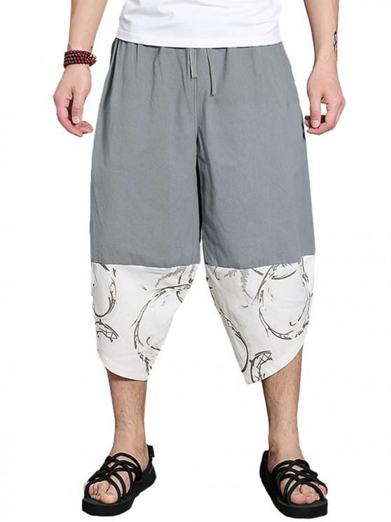 trendy Patchwork Cropped Wide Leg Pants - GRAY L