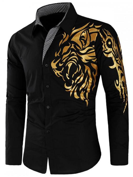 outfits Dragon Print Plaid Patchwork Slim Fit Shirt - BLACK 2XL