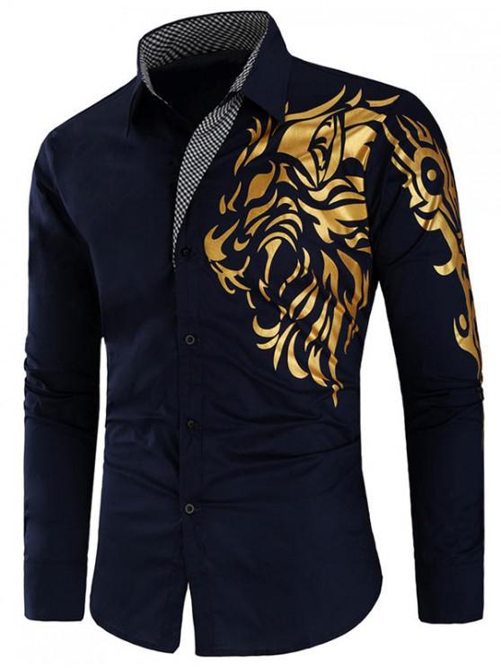 latest Dragon Print Plaid Patchwork Slim Fit Shirt - CADETBLUE M