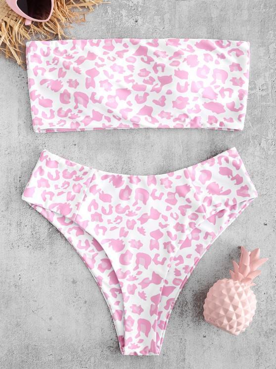 womens ZAFUL Animal Print Bandeau Bikini Set - MULTI-A M
