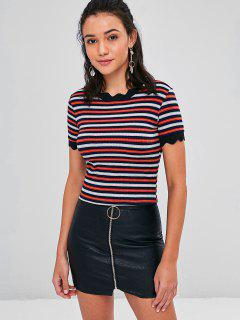 Scalloped Striped Ribbed T-Shirt - Multi