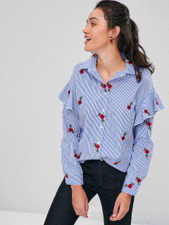 Embroidered Ruffles Striped Shirt - Royal Blue S
