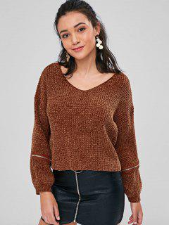 Zipper Embellished Chunky Sweater - Brown M