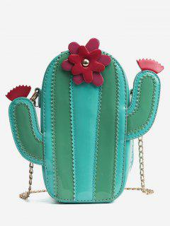 Metal Chain Striped Cactus Scallop Floral Sling Bag - Green