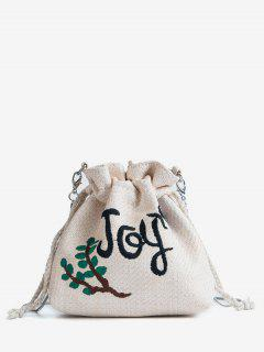 Patchwork Embroidery Casual String Crossbody Bag - Crystal Cream