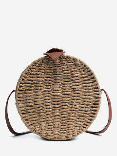 Vintage Straw Holiday Round Crossbody Bag - Dark Khaki