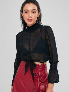 Plumetis Sheer High Collar Cropped Blouse - Black S