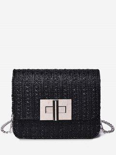 Metal Chain Flap Chic Daily Crossbody Bag - Black