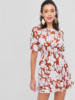 Floral Open Back Mini Tea Dress - Multi L