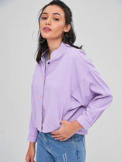 Dolman Sleeves Snap Button Jacket - Mauve S