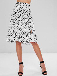 Buttoned Polka Dot Midi A Line Skirt - Multi L