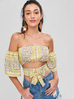 Off The Shoulder Floral Crop Top - Yellow L