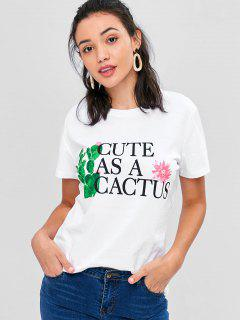 Cactus Graphic Relaxed T-Shirt - White S