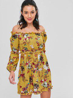 Floral Off Shoulder Backless Frills Dress - School Bus Yellow M