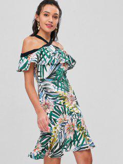 Vestido A Media Pierna Con Hombros Descubiertos En Estampado Tropical - Multicolor M