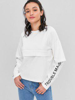 Letter Graphic Faux Twinset Sweatshirt - White S