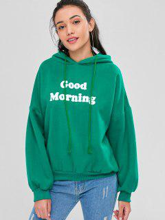 Letter Graphic Loose Hoodie - Medium Sea Green