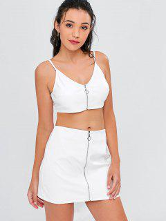 Zip Front Cami Skirt Set - White M