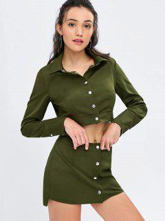 Button Up Crop Shirt And Skirt Set - Army Green M