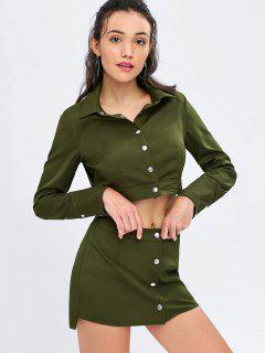 Button Up Crop Shirt And Skirt Set - Army Green L