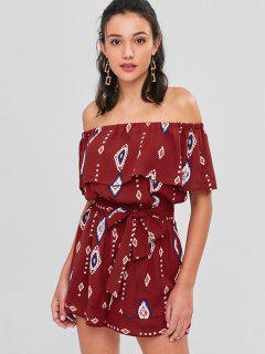Flouncy Ruffle Off The Shoulder Romper - Red Wine M