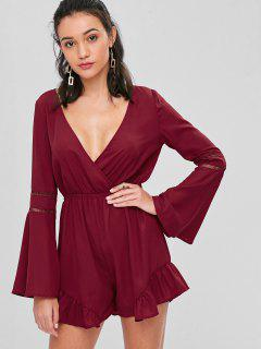 Low Cut Bell Sleeve Ruffles Romper - Red Wine L