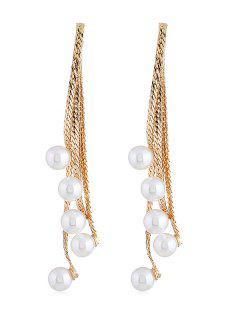 Artificial Pearls Chain Tassel Pendant Earrings - Gold