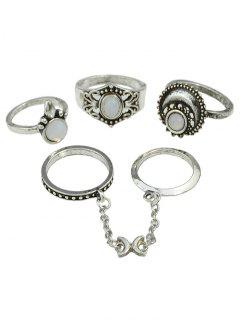 Retro Bohemian Artificial Gemstone Finger Rings Set - Silver One-size