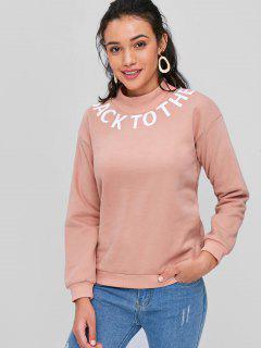 Mock Neck Letter Graphic Sweatshirt - Rose L