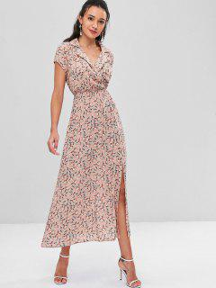 Tiny Floral Slit Maxi Dress - Antique White S
