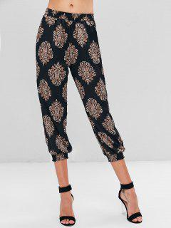 Baroque Print Shimmer Joggers Pants - Black S