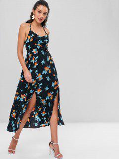 Robe Maxi Dos-Nu Avec Lacets Motif Floral  - Noir M