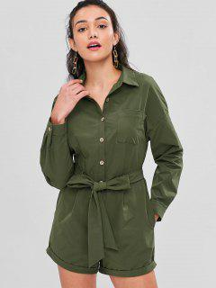 Long Sleeve Belted Shirt Romper - Army Green Xl