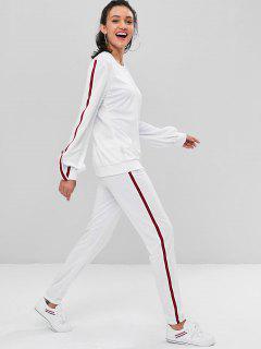 Contrast Striped Trim Sweat Suit - Milk White S