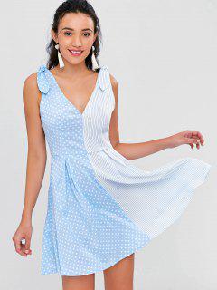Robe Évasée Motif Rayures Et à Pois  - Bleu Ciel Léger  S