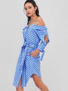 Cold Shoulder Striped Belted Dress - Sky Blue M