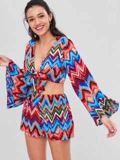 Flare Sleeves Knotted Zigzag Shorts Set - Multi L