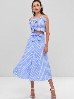 Striped Cami Belted Skirt Set - Light Sky Blue M