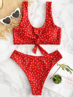 Heart Keyhole Knot Bikini Set - Fire Engine Red S