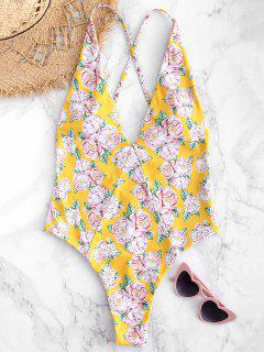 Floral Criss Cross Backless Swimsuit - Rubber Ducky Yellow S