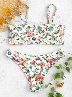Low Waist Floral Bikini Set - White M