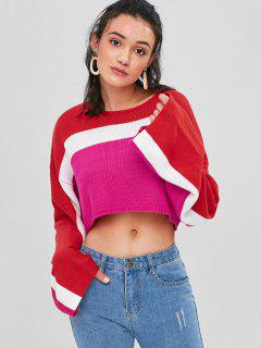 Color Block Cropped Sweater - Deep Pink M